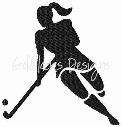 Female Hockey Player Embroidery Design