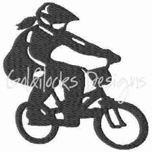 Female Biker BMX Bicyclist bicyle cycling embroidery design