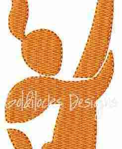 Female Girl Diver Embroidery Design
