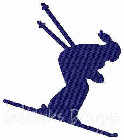 Female downhill skier embroidery design