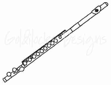 Flute band instrument embroidery design