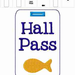 Goldfish Teacher Hall Pass Lanyard Embroidery Design