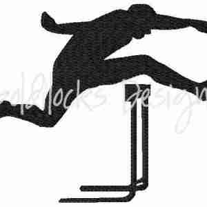 Hurdler runner track meet embroidery design