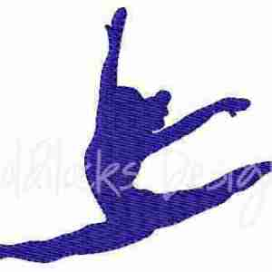 Female gymnast jumping splits embroidery design