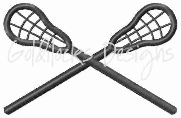 Lacrosse crossed double nets embroidery design
