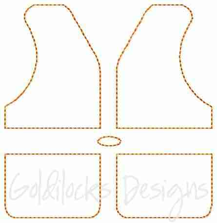 Life jacket boating rafting embroidery design