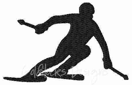male downhill skier embroidery design