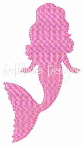 Mermaide silhouette embroidery design