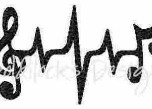 Music heartbeat musical embroidery design