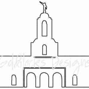 Newport Beach LDS Temple sketch embroidery design
