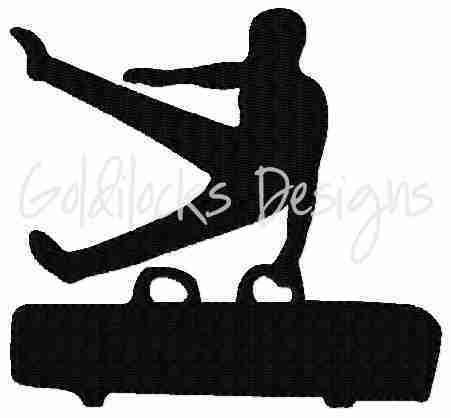 Male gymnast pommel horse embroidery design