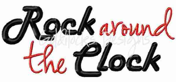 Rock around the clock 50's Sock Hop embroidery design