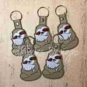 Sloth with pillow Keychain ITH Embroidery Design