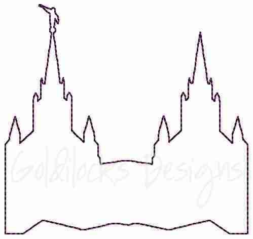 San Diego LDS Temple sketch embroidery design