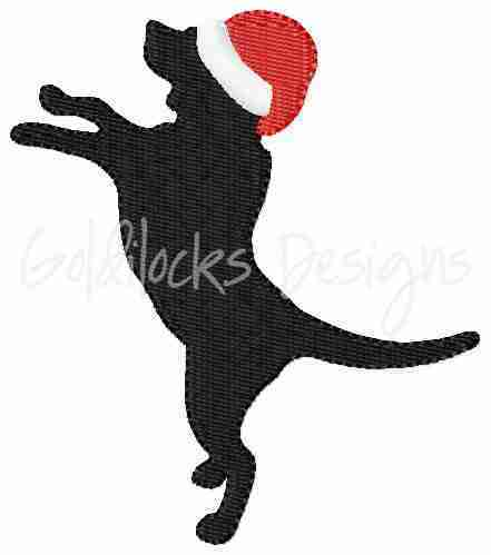 Dog with Santa hat embroidery design