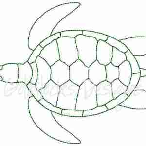 Sea Turtle outline Embroidery Design