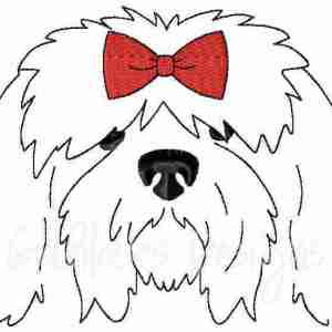 Female Girl Sheepdog Sketch Outline Embroidery Design