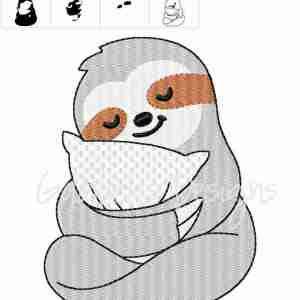 Sloth with pillow Embroidery Design