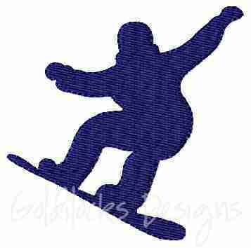 male snowboarding embroidery design