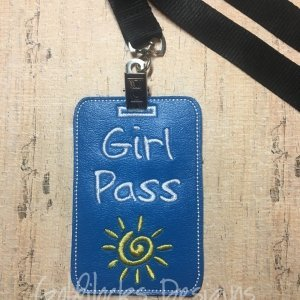Teacher Hall Pass Lanyard Embroidery Design