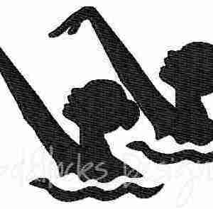 Synchronized Swimming logo embroidery design