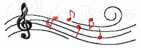 Treble clef notes on staff music embroidery design