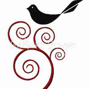 Bird in ornate tree embroidery design