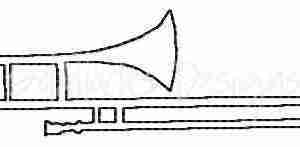 Trombone band instrument embroidery design