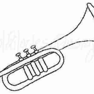 Trumpet band instrument embroidery design