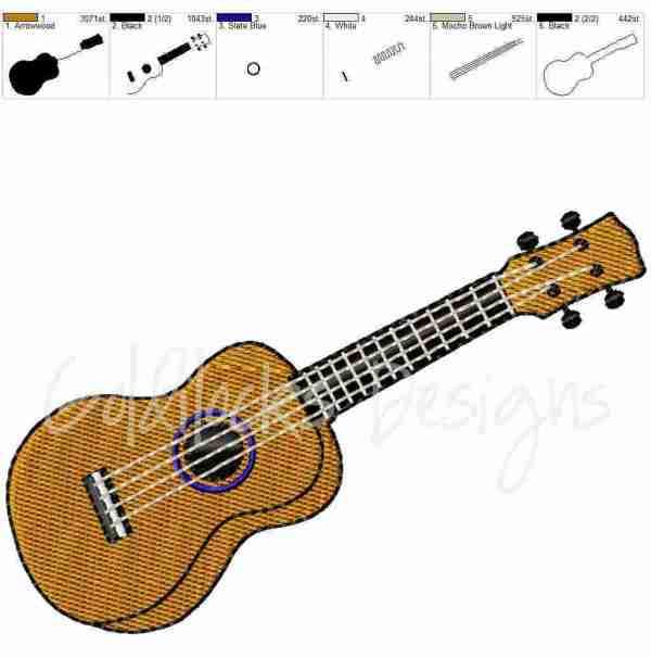 Ukulele orchestra instrument embroidery design
