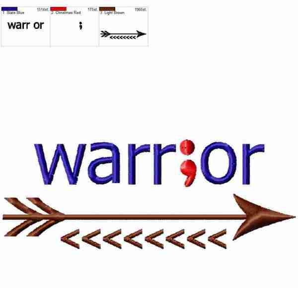 Semicolon Warrior arrow embroidery design