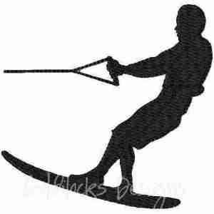 Water skiier skiing male embroidery design