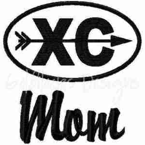 Cross Country Mom running runner logo embroidery design