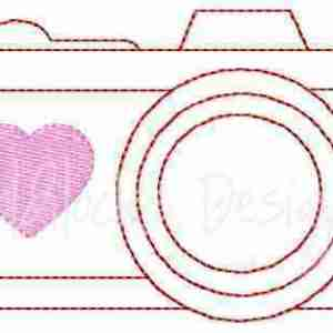 Redwork Camera with Heart Embroidery Design