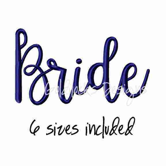 Bride Word Fancy Wedding Embroidery Design