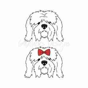 Sheepdog Sketch Outline Embroidery Design