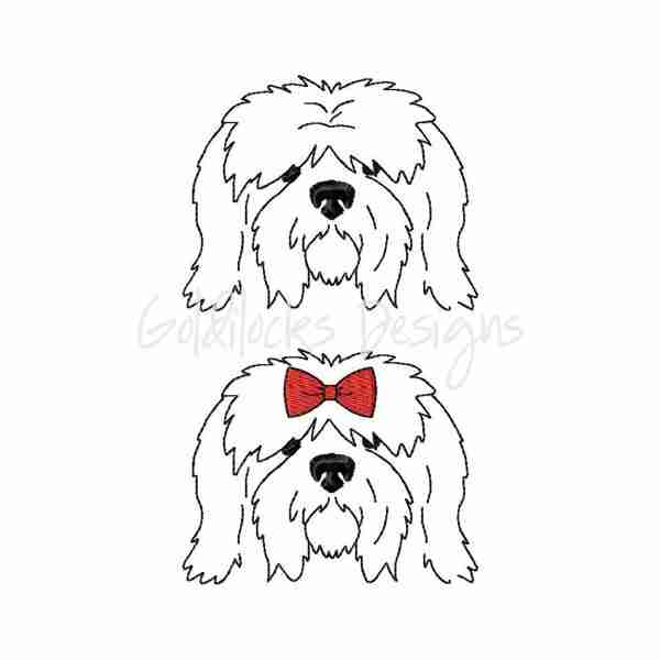 Sheepdog Sketch Outline Embroidery Design