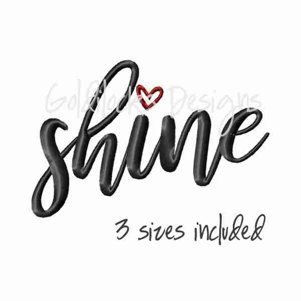 Shine word art embroidery design