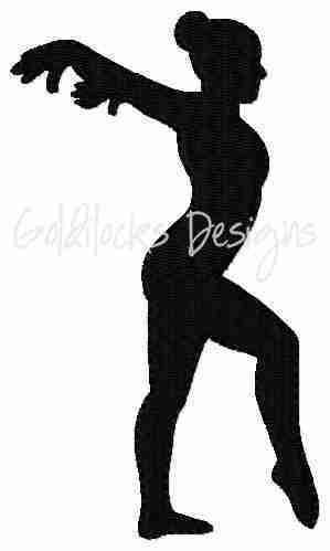 Female gymnast floor pose embroidery design