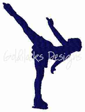 Female ice skater dancing embroidery design